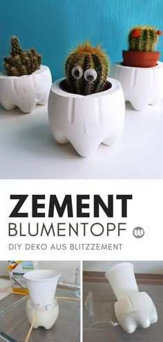 DIY flower pots & tealights made of MOLTO lightning cement - Einrichtungsideen Diy Cement Planters, Cement Flower Pots, Concrete Crafts, Beton Diy, Cactus Y Suculentas, Outdoor Halloween, Diy Projects To Try, Tea Lights, Decoration