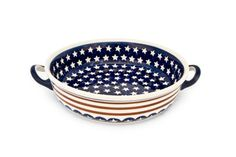 Blue Rose Polish Pottery: Stars & Stripes Round Casserole with Handles