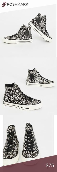 Leopard Converse Unisex . Worn once . Faux calf hair . Converse Shoes Sneakers
