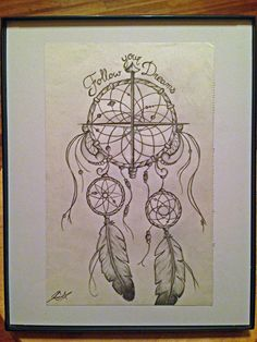 Follow your dreams - dream catcher compass pencil drawing. #dreamcatcher #art #hippie #bohemian facebook.com/dreamchasingart