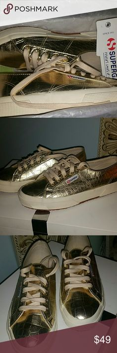 Metallic Croc  Gold Supergas NWT. Beautiful, stylish, from this season. Size says Euro 38, US 7.5 Superga Shoes Sneakers