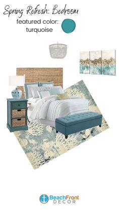 Spring Refresh Ideas: Bedroom Beach Bedding, Beach Bedroom Decor, Bedroom Wall, Coastal Furniture, Coastal Decor, Bedroom Furniture, Beach Themes, Hairstyles, Spring