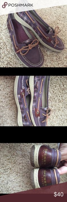 Sperry top sider shoes purple plaid almost new Very good condition only wore once! Sperry Top-Sider Shoes Flats & Loafers