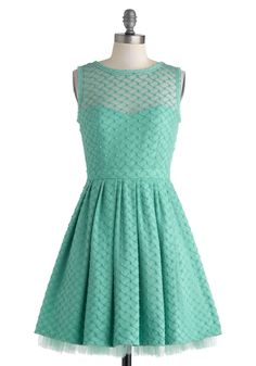 Nighttime Pool Party Dress - Mint, Solid, Pleats, Wedding, Daytime Party, Bridesmaid, Fit & Flare, Sleeveless, Crew, Spring