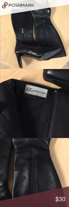 Square toe boots Anne Klein black dress boots square toe. Very nice pair 8M side zipper and stretch streak on opposite side. Anne Klein Shoes