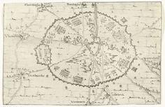 Anonymous   Beleg van Ieper, 1649, Anonymous, 1649   Kaart van het beleg van Ieper door het leger van de landvoogd Leopold Willem, begonnen in april 1649. Plan van de omsingeling van de stad. Details in de voorstelling gemerkt A-T. Bij de prent behoort een tekstblad.