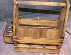 MONOGRAM LETTER Rustic Wood Table Caddy Beer by dlightfuldesigns