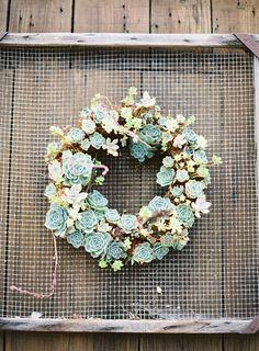 #succulent, #diy, #wreath  Photography: The Great Romance - thegreatromancephoto.com  Read More: http://www.stylemepretty.com/2014/02/13/healdsburg-country-gardens-wedding/