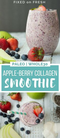 This Apple Berry Collagen Smoothie is a high fiber, high protein breakfast or snack on the go. The collagen protein is amazing for hair, skin, nails and joints. Fruit Smoothies, Healthy Smoothies, Healthy Drinks, Paleo Smoothie Recipes, Breakfast Smoothie Recipes, Nutribullet Recipes, Whole30 Recipes, High Fiber Breakfast, High Protein Breakfast