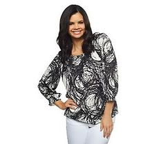 Susan Graver Printed Woven Peasant Top with 3/4 Sleeves