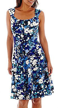 LONDON TIMES London Style Collection Sleeveless Floral Print Fit-and-Flare Dress