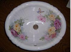 rose painted porcelain bathroom sinks - Google Search