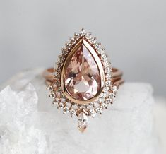 Oval Morganite engagement ring rose gold engagement ring Vintage Halo diamond wedding ring Antique Bridal set Jewelry Promise Gift for women - Fine Jewelry Ideas - Morganite Diamond Ring Set Large Pear Morganite and Diamond Diamond Ring Settings, Diamond Bands, Diamond Wedding Bands, Diamond Jewelry, Diamond Heart, Pink Diamond Ring, Pink Diamond Engagement Ring, Silver Jewelry, Jewelry Clasps