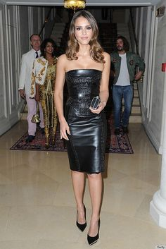 "145793201HC023_Versace_Arri by momiecat, via Flickr  Jennifer Alba contributing to animal abuse by wearing the skin of a dead cow, so-called ""leather"" dress.  Shame on her.  Not cool!"