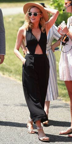 The actress rocked a cut-out jumpsuit, hat, and white sunnies while attending the 8th Annual Veuve Clicquot Polo Classic.