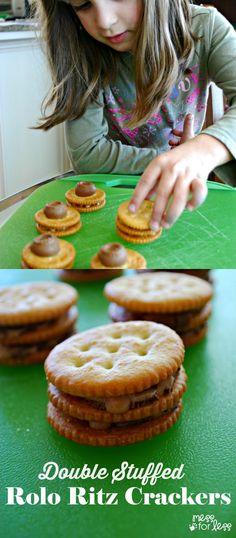 Double Stuffed Rolo Ritz Crackers - kick the classic stuffed Ritz up a notch! Fun snack that kids can help to make!