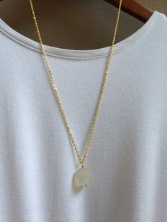 White Chalcedony Necklace - Chalcedony Nugget - Gold by adieslovelies, $19.99