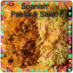 Spanish paella and crabmeat with salad. Spanish Paella, Puerto Rican Recipes, Crab Meat, Puerto Ricans, Salad, Homemade, Food, Salads, Home Made