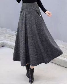 Women Woolen Elegant High Waist Plaid Skirts Plaid Skirts, Plaid Dress, Sexy Skirt, Dress Skirt, Cool Outfits, Casual Outfits, Vintage Jumpsuit, Loungewear Set, Clothing Sites