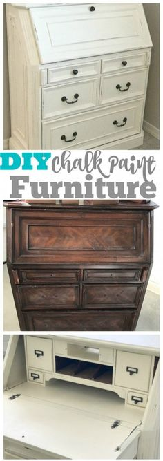 old furniture How to refinish an old piece of furniture with chalk paint! A DIY tutorial that shows how easy it is, anyone can do this with a little bit of elbow grease. via amomstake Diy Furniture Projects, Woodworking Furniture, Diy Woodworking, Furniture Makeover, Home Furniture, Diy Projects, Street Furniture, Woodworking Articles, Furniture Buyers