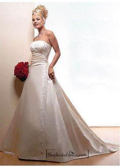 Beautiful Elegant Satin Ball Gown Sleeveless Wedding Dress In Great Handwork