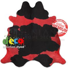 The Cowhide Store: Hand Picked - Dyed Premium Cowhide - Spotted on Red - Large