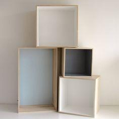 Bloomingville wandboxen: Speelse combinatie opbergboxen in grijs en wit voor je…