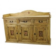 Rustic Wood Sideboard With Copper Cross. This would look beautiful in any Spanish Colonial, Southwestern, or Rustic decorating scheme. This is a one-of-a-kind item.