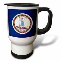 3dRose State Flag of Virginia (PD-US), Travel Mug, 14oz, Stainless Steel