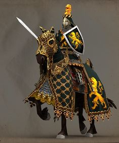 m Paladin on War Horse barding plate shield sword Knight Medieval Knight, Medieval Armor, Medieval Fantasy, Armadura Medieval, Landsknecht, Knight Art, Knight In Shining Armor, Fantasy Armor, Fantasy Miniatures
