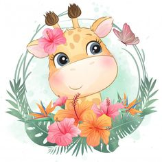 Discover thousands of Premium vectors available in AI and EPS formats Watercolor Flower Background, Floral Watercolor, Cartoon Wallpaper, Baby Cartoon, Cute Cartoon, Cute Drawings, Animal Drawings, Baby Animals, Cute Animals