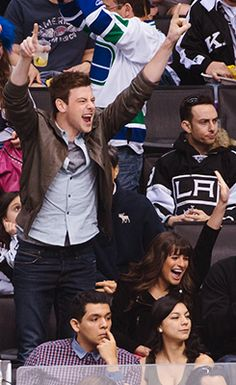 Monchele cheering at the Canucks game