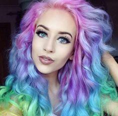Purple pink rainbow hair