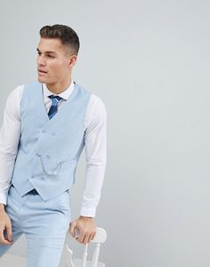 Find the best selection of ASOS DESIGN wedding skinny suit vest in soft blue cross hatch with printed lining. Shop today with free delivery and returns (Ts&Cs apply) with ASOS! Wedding Dress Men, Asos Wedding, Wedding Groom, Blue Vests, Men's Vests, Costume Slim, Gilet Costume, Double Breasted Vest, Men's Waistcoat