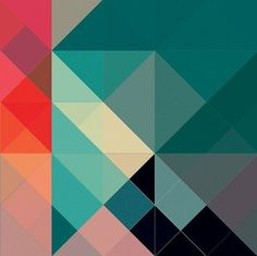 Aqua blue teal magenta orange coral rose... pretty colors balance geometric patterns and make a nice harmony.