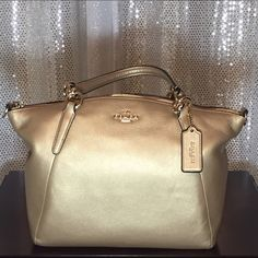 67e0fe45f19 Selling this NWT Coach Kelsey Small Satchel Crossbody Bag Gold in my  Poshmark closet! My