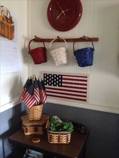 Longaberger Woven Tranditions Clock, Pail Baskets, and Woven Flag fit right in with my office decor.