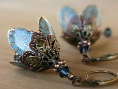 Mother's Day flower dangle earrings - blue, crystal, brass, romantic, weddings, bridal, bridesmaid on Etsy, $47.50