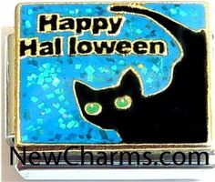 Happy Halloween Black Cat Italian Charm Bracelet Jewelry Link New Charms. $1.99. Combine with other Italian Charms to show your style.. Standard 9mm size.. Compatible with all major brands of Italian Charms.. High quality Italian Charm.