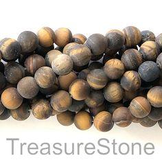 Bead, Tiger's Eye, round matt, grade B. Wholesale Beads, Jewelry Making Supplies, Gemstone Beads, Gemstones, Eye, Gems, Gem