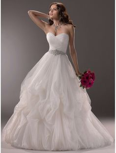 Tulle Sweetheart Neckline Ball Gown Wedding Dress with Beading Waist Decoration MS007 - Bridal Gowns - RainingBlossoms