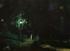 George Bellows (American 1882–1925) [Ashcan School, The Eight, American Realism] Summer Night, Riverside Drive (1909).
