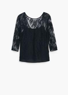 Blusa pizzo - Camicie da Donna | MANGO