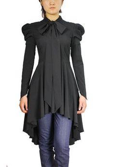 New SZLG Goth Lolita Victorian Steampunk Military Hi Low Pussy Bow Blouse Dress | eBay