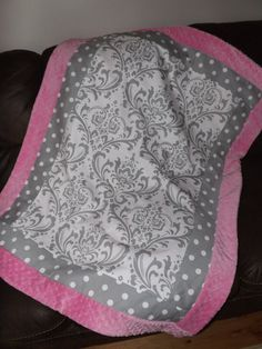Baby blanket PInk and gray  damask minky dot on Etsy, $54.99