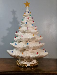 "#Vintage Ceramic Christmas Tree WHITE 24"" TALL BIG LARGE #RETRO #MIDCENTURYMODERN $187"