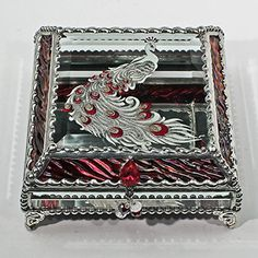Etched Hand Painted Peacock Stained Box Jewelry Box Gift Box ** Click image for more details.Note:It is affiliate link to Amazon.