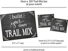 Chalkboard DIY Trail Mix bar--Teacher, PTA, graduation,  church event, employee appreciation by PartyTimeDesign on Etsy