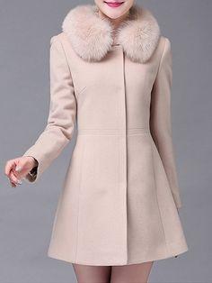 Plain Fur Collar Single Breasted Comfortable Overcoats #ClothingOnline #PlusSizeWomensClothing #CheapClothing #FashionClothing #womenswear #sexydress #womensdress #womenfashioncasual #womensfashionforwork #fashion #womensfashionwinter