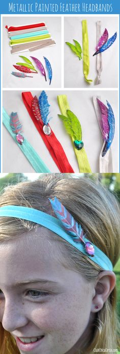 Painted Feather Headbands DIY project.  So fun and trendy!  www.clubchicacircle.com